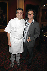 Left to right, MARK HIX and HUGH FEARNLEY-WHITTINGSTALL at the Feast of Albion a sumptious locally-sourced banquet in aid of The Soil Association held at The Guildhall, City of London on 12th March 2008.<br />