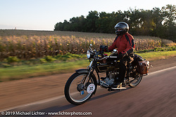 Byrne Bramwell of Ontario, Canada, rode his Henderson-4 on the Motorcycle Cannonball coast to coast vintage run. Stage 8 (314 miles) from Spirit Lake, IA to Pierre, SD. Saturday September 15, 2018. Photography ©2018 Michael Lichter.
