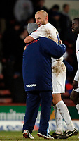 Photo: Daniel Hambury.<br />Crystal Palace v Preston North End. The FA Cup. 07/02/2006.<br />Preston's Daniel Dichio celebrates with a member of the back room staff after scoring the winning goal.