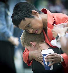 June 16, 2017 - St. Paul, Minnesota, U.S. - Judge GLENDA HATCHETT is hugged by Philando Castile supporter GUTHRIE MORGAN, 7, after Geronimo Yanez was found not guilty on all counts in the shooting death of Philando Castile Friday. (Credit Image: © Elizabeth Flores/TNS via ZUMA Wire)