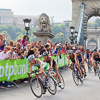 Silver medal winning world champion Emma Moffat (center AUS) rides her bike among other competitors during the ITU women's elite triathlon world championships series final in Budapest, Hungary, Sunday, 12. September 2010. ATTILA VOLGYI