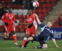 Fotball<br /> Skottland<br /> Foto: Colorsport/Digitalsport<br /> NORWAY ONLY<br /> <br /> Nicholas Bignall of Cheltenham Town  and Tranmere Rovers Ben Chorley<br /> Cheltenham Town vs Tranmere Rovers<br /> Coca-Cola League One, Whaddon Road, Cheltenham<br /> 17/03/2009