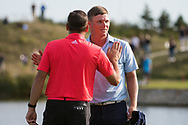 Sergio Garcia (ESP) and Callum Shinkwin (ENG) in action on the 18th hole during the 3rd round at the KLM Open, The International, Amsterdam, Badhoevedorp, Netherlands. 14/09/19.<br /> Picture Stefano Di Maria / Golffile.ie<br /> <br /> All photo usage must carry mandatory copyright credit (© Golffile | Stefano Di Maria)