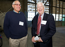 Walter Danz, and newly elected Vallejo city council member Robert McConnell , smile as  Blu Homes opens their West Coast factory on Mare Island in Vallejo, California Dec. 1, 2011.  Over 400 guests attended a ribbon cutting ceremony at the 250,000-square-foot facility.