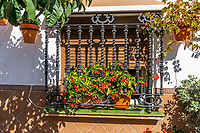 Window with ornate ironwork, terrace house, Estepona, Spain, 202002142172<br /><br />Copyright Image from Victor Patterson, Belfast, UK<br />t: +44 28 9066 1296 <br />(from Rep of Ireland 048 9066 1296) <br />m: +44 7802 353836 <br />victorpattersonbelfast@gmail.com <br />www.victorpatterson.com<br /><br />Please see my Terms and Conditions of Use at https://www.victorpatterson.com/page2 <br /><br />It is IMPORTANT that you familiarise yourself with them.<br /><br />Images used on the Internet incur an additional cost and must be visibly watermarked i.e. © Victor Patterson within the body of the image and copyright metadata must not be deleted. Images used on the Internet have a size restriction of 4kbs and are chargeable at rates available at victorpatterson.com.<br /><br />This image is only available for the use of the download recipient i.e. television station, newspaper, magazine, book publisher, etc, and must not be passed on to any third party. It is also downloaded on condition that each and every usage is notified within 7 days to victorpattersonbelfast@gmail.com<br /><br />The right of Victor Patterson to be identified as the author is asserted in accordance with The Copyright Designs And Patents Act (1988). All moral rights are asserted.