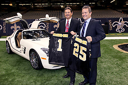 04 October 2011. New Orleans, Louisiana, USA.  <br /> NFL's New Orleans Saints announce a multi million dollar deal with Mercedes-Benz for naming rights on the Louisiana Superdome. Now the Mercedes-Benz Superdome. L/R Mercedes-Benz USA President and CEO Ernst Leib and Mercedes-Benz VP Marketing Stephen Cannon.<br /> Photos; Charlie Varley/varleypix.com