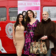 Francine Lewis, Lady Colin Campbell and Tonia Buxton attend Celeb Bri Tea, on board the BB Bakery bus on 22 March 2019, London, UK.