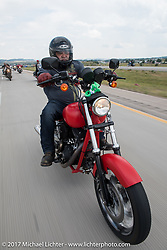 Aidan's Ride to raise money for the Aiden Jack Seeger nonprofit foundation to help raise awareness and find a cure for ALD (Adrenoleukodystrophy) during the annual Sturgis Black Hills Motorcycle Rally. I-90 between Rapid City and Sturgis, SD, USA. Tuesday August 8, 2017. Photography ©2017 Michael Lichter.