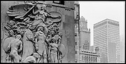 Statues and buildings, Chicago, Illinois, USA, June 2003