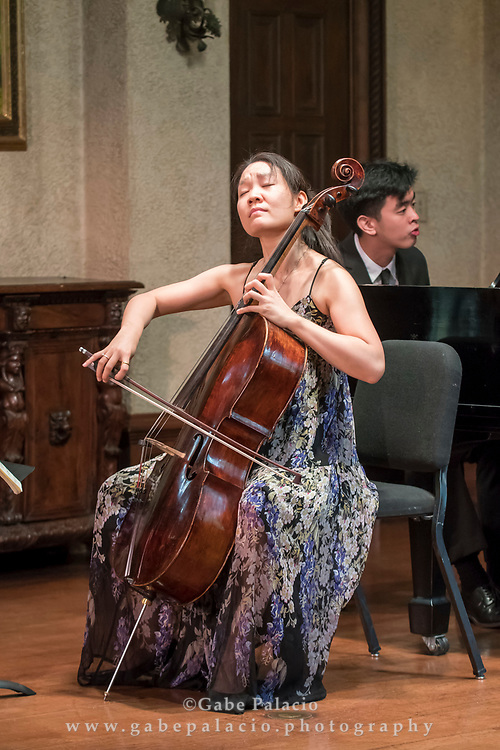 Alice Yoo, cello and Andrew Hsu, piano, perform in a Wednesday Morning Concert in the Music Room of the Rosen House at Caramoor in Katonah New York on September 20, 2017. <br /> (photo by Gabe Palacio)
