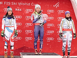 18.03.2018, Aare, SWE, FIS Weltcup Ski Alpin, Finale, Aare, Gesamt Weltcup, Damen, Siegerehrung, im Bild v.l. Wendy Holdener (SUI, Gesamt Weltcup 2. Platz und Slalom Weltcup 2. Platz), Mikaela Shiffrin (USA, Riesenslalom Weltcup 3. Platz, Slalom Weltcup und Gesamt Weltcup 1. Platz), Viktoria Rebensburg (GER, Riesenslalom Weltcup 1. Platz und Gesamt Weltcup 3. Platz) // f.l. Overall World Cup 2nd placed and Slalom World Cup 2nd placed Wendy Holdener of Switzerland Overall World Cup winner Slalom World Cup winner and Giant Slalom World Cup third placed Mikaela Shiffrin of the USA Giant Slalom World Cup winner and Overall World Cup third placed Viktoria Rebensburg of Germany during the allover winner Ceremony for the ladie's Worlcup of FIS Ski Alpine World Cup finals in Aare, Sweden on 2018/03/18. EXPA Pictures © 2018, PhotoCredit: EXPA/ Johann Groder