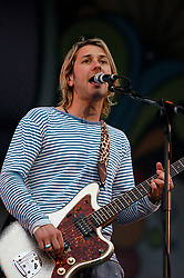 Feeder <br /> backstage and live at the Isle of Wight Festival, Isle of Wight, Great Britain <br /> 11th June 2005 <br /> <br /> Grant Nicholas<br /> Taka Hirose<br /> Mark Richardson<br /> Jon Lee<br /> <br /> Photograph by Elliott Franks