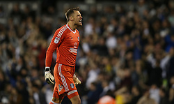 Marcus Bettinelli of Fulham celebrates after Denis Odoi ( not pictured ) of Fulham scores to make it 2-0 - Mandatory by-line: Paul Terry/JMP - 14/05/2018 - FOOTBALL - Craven Cottage - Fulham, England - Fulham v Derby County - Sky Bet Championship Play-off Semi-Final