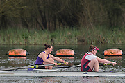 Caversham. Berkshire. UK<br /> Women's pair, Annie WITHERS and Ailish SHEEHAN competing in the  2016 GBRowing U23 Trials at the GBRowing Training base near Reading, Berkshire.<br /> <br /> Monday  11/04/2016 <br /> <br /> [Mandatory Credit; Peter SPURRIER/Intersport-images]