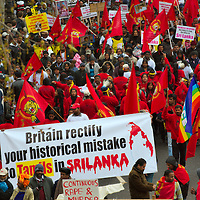 London April 11 Tens of thousands of Tamil protesters have gathered for a march in London as two hunger strikers continued their fast. The protesters streamed into Embankment to march against the Sri Lankan government's offensive against Tamil Tiger rebels and alleged human rights abuses. They packed along both sides of the road, which police had closed to traffic, chanting for their freedom....Standard Licence feee's apply  to all image usage.Marco Secchi - Xianpix tel +44 (0) 845 050 6211 .e-mail ms@msecchi.com .http://www.marcosecchi.com