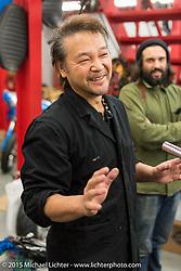 Zak Take Shibazaki shows us around his Sundance V-Twin Skunkworks motorcycle shop. Tokyo, Japan. December 8, 2015.  Photography ©2015 Michael Lichter.
