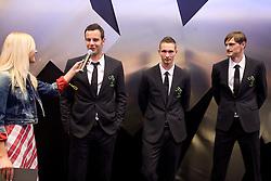 Maja Tratnik, Samir Handanovic, Tim Matavz and Milivoje Novakovic of Slovenian National Football team at presentation of  official Dirk  Bikkembergs fashion collection, on May 20, 2010 in Ciytpark, BTC, Ljubljana, Slovenia. (Photo by Vid Ponikvar / Sportida)