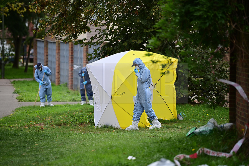 © Licensed to London News Pictures. 07/09/2020. London, UK.  The scene at at Debden Close in Burnt Oak, Barnet - north London - where 22-year-old man was murdered on Saturday. Police were called at 23:05hrs on Saturday, 5th September to reports of a stabbing on Debden Close where officers found a 22-year-old man suffering from a stab injuries on Martlesham Walk. They immediately provided first aid. Despite the efforts of police and ambulance medics to save him, he was pronounced dead at the scene at 23:45hrs. A murder investigation is underway. No arrests have been made. Photo credit: Ben Cawthra/LNP