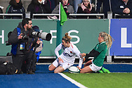 England player Sarah McKenna scores a try in the first half as she crashes into photographers during the Women's 6 Nations match between Ireland Women and England Women at Energia Park, Dublin, Ireland on 1 February 2019.