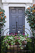 A traditional style wooden door on a historic home in Charleston, South Carolina.
