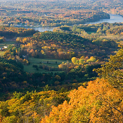 The Connecticut River in fall as seen from the Skinner Mountain House in Skinner State Park in Hadley, Massachusetts.  Holyoke Range. New England Trail