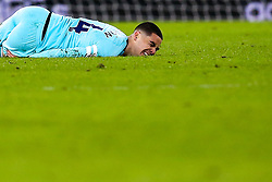 Miguel Almiron of Newcastle United looks in pain after being fouled - Mandatory by-line: Robbie Stephenson/JMP - 11/02/2019 - FOOTBALL - Molineux - Wolverhampton, England - Wolverhampton Wanderers v Newcastle United - Premier League
