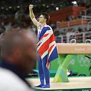 Gymnastics - Olympics: Day 9   Max Whitlock #138 of Great Britain celebrates after performing his routine in the Men's Pommel Horse Final which won him the gold medal at the Rio Olympic Arena on August 14, 2016 in Rio de Janeiro, Brazil. (Photo by Tim Clayton/Corbis via Getty Images)