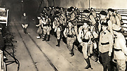 French troops inside the tunnels of the Maginot Line just before the outbreak of World War II. Troops leaving the underground railway.