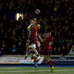 Jason Harries of Cardiff Blues and Andrew Conway of Munster vie for the high ball<br /> <br /> Photographer Simon King/Replay Images<br /> <br /> Guinness PRO14 Round 4 - Cardiff Blues v Munster - Friday 21st September 2018 - Cardiff Arms Park - Cardiff<br /> <br /> World Copyright © Replay Images . All rights reserved. info@replayimages.co.uk - http://replayimages.co.uk