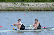 Reading. United Kingdom.  GBR W2-. Claire WATKINS and Melissa WILSON, in the opening strokes of the morning time trial. 2014 Senior GB Rowing Trails, Redgrave and Pinsent Rowing Lake. Caversham.<br /> <br /> 10:49:00  Saturday  19/04/2014<br /> <br />  [Mandatory Credit: Peter Spurrier/Intersport<br /> Images]