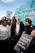 Jeremy Corbyn joins the march as junior doctors, including accident and emergency, strike throughout the UK against the imposition of new contracts on April 26th 2016 at St Thomas Hospital, London, United Kingdom.