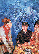 After the Battle', 1923. Oil on canvas. Kuzma Petrov-Vodkin (1878-1939) Russian painter. Three dazed,sombre-faced combatants smoking and eating around a table. In background are ghostly forms of dead fighters.