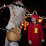 St. Nicholas with visitors, Candle Light Stroll at Strawbery Banke, Portsmouth, NH Dec. 2010