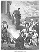 St. Paul at Ephesus [Acts 19:19] From the book 'Bible Gallery' Illustrated by Gustave Dore with Memoir of Dore and Descriptive Letter-press by Talbot W. Chambers D.D. Published by Cassell & Company Limited in London and simultaneously by Mame in Tours, France in 1866