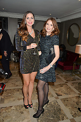 Left to right, NINA NAUSTDAL and KIMBERLEY ROBSON at a cocktail party hosted by Mrs Sonia Falcone and Mrs Kimberley Robson Chairman of Le Bal de la Riveria 2016 for the forthcoming Ball held at Flemings Hotel, Half Moon Street, London on 27th September 2016.