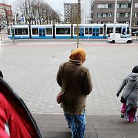 Nederland, Amsterdam , 16 april 2015.<br /> Illegalen in hun tijdelijk nieuwe onderkomen op de Jan Tooropstraat.<br /> Illegal immigrants in their temporary new home at  the Jan Tooropstraat in Amsterdam .