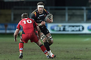 James Thomas  of the Newport Gwent Dragons runs directly at Jason Tovey of Edinburgh. Guinness Pro12 rugby match, Newport Gwent Dragons  v Edinburgh rugby at Rodney Parade in Newport, South Wales on Sunday 27th November 2016.<br /> pic by Simon Latham, Andrew Orchard sports photography.