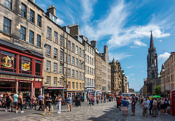 View along historic Royal Mile in Edinburgh Old Town , Scotland UK