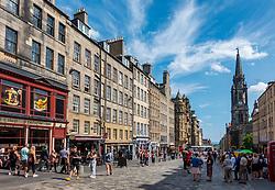 View along historic Royal Mile in Edinburgh Old Town , Scotland UK