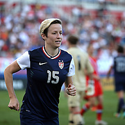 U.S.midfielder Megan Rapinoe (15) during an international friendly soccer match between the United States Women's National soccer team and the Russia National soccer team at FAU Stadium on Saturday, February 8, in Boca Raton, Florida. The U.S. won the match by a score of 7-0. (AP Photo/Alex Menendez)