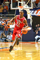 02 January 2004  Najeeb Echols come up the court. Illinois State University ties up The Fightin Illini in regulation but fails to top the Big 10 team in overtime. Action took place at the Assembly Hall on the University of Illinois Campus in Champaign - Urbana Illinois.