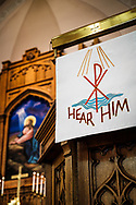 The pulpit and altar at Gethsemane Lutheran Church on Tuesday, July 28, 2020, in St. Louis.  LCMS Communications/Erik M. Lunsford