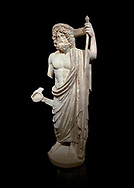 Roman statue of Asclepius. Marble. Perge. 2nd century AD. Inv no .Antalya Archaeology Museum; Turkey. Against a black background.<br /> <br /> Asclepius was a hero and god of medicine in ancient Greek religion and mythology. Asclepius represents the healing aspect of the medical arts, one of his his daughters is Hygieia .<br /> <br /> If you prefer to buy from our ALAMY STOCK LIBRARY page at https://www.alamy.com/portfolio/paul-williams-funkystock/greco-roman-sculptures.html . Type -    Antalya     - into LOWER SEARCH WITHIN GALLERY box - Refine search by adding a subject, place, background colour, museum etc.<br /> <br /> Visit our ROMAN WORLD PHOTO COLLECTIONS for more photos to download or buy as wall art prints https://funkystock.photoshelter.com/gallery-collection/The-Romans-Art-Artefacts-Antiquities-Historic-Sites-Pictures-Images/C0000r2uLJJo9_s0