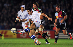 Geoffrey Palis of Castres Olympique puts boot to ball - Photo mandatory by-line: Patrick Khachfe/JMP - Mobile: 07966 386802 17/10/2014 - SPORT - RUGBY UNION - London - Twickenham Stoop - Harlequins v Castres Olympique - European Rugby Champions Cup