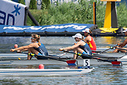 Poznan, POLAND, 21st June 2019, Friday, Morning Heats, USA. W2X -/1 (b) MADDEN Cicely and (s) STONE Genevra, FISA World Rowing Cup II, Malta Lake Course, © Peter SPURRIER/Intersport Images,<br /> <br /> 10:34:06