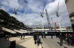 """A general view of cranes and building works outside White Hart Lane during the Premier League match at White Hart Lane, London. PRESS ASSOCIATION Photo. Picture date: Sunday March 19, 2017. See PA story SOCCER Tottenham. Photo credit should read: John Walton/PA Wire. RESTRICTIONS: EDITORIAL USE ONLY No use with unauthorised audio, video, data, fixture lists, club/league logos or """"live"""" services. Online in-match use limited to 75 images, no video emulation. No use in betting, games or single club/league/player publications."""
