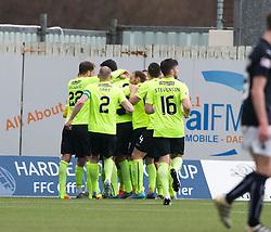 Hibernian's Kris Commons cele scoring their second goal. Falkirk 1 v 2 Hibernian, Scottish Championship game played 31/12/2016 at The Falkirk Stadium .