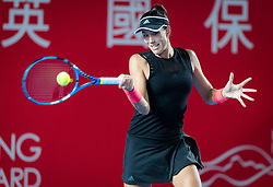 October 9, 2018 - Hong Kong, China - GARBINE MUGURUZA of Spain in action during her first-round match at the 2018 Prudential Hong Kong Tennis Open WTA International tennis tournament. (Credit Image: © AFP7 via ZUMA Wire)
