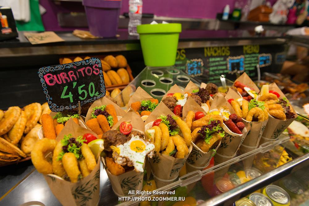 La Boqueria market burritos, Barcelona, Spain