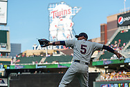 Eduardo Escobar #5 of the Minnesota Twins warms up before a game against the Chicago White Sox on June 19, 2013 at Target Field in Minneapolis, Minnesota.  The Twins defeated the White Sox 7 to 4.  Photo: Ben Krause